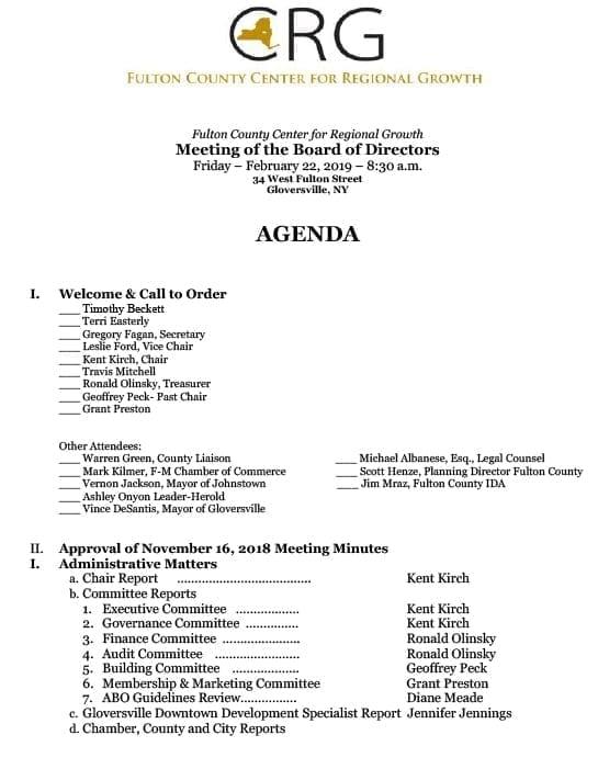 Agenda – February 22, 2019
