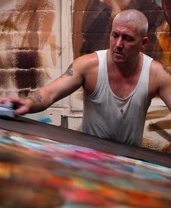 man making leather