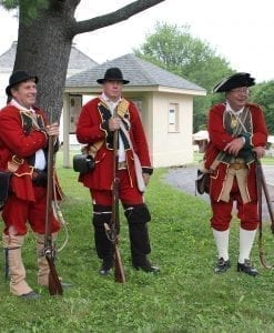 Malitia in Redcoats assembled for Reinactment at Johnson Hall