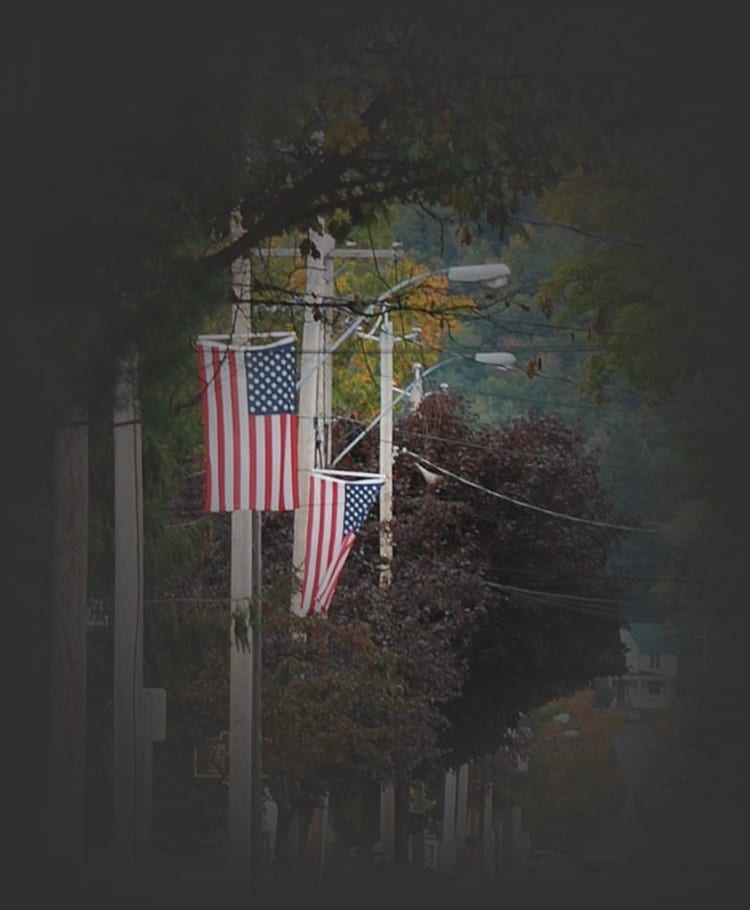 Main street in Northville Decorated with flags