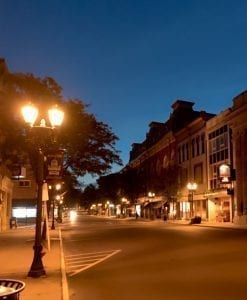 GLoversville Street lit by Historic Streetlights
