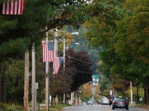 Northville NY Streetscape with American Flags