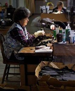 woman making gloves
