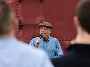 Gloversville Mayor Vince DeSantis speaks during the Opening Ceremony of the 100in1 Day at Trail Station Park in Gloversville on May 4. Bill Trojan/For the Express
